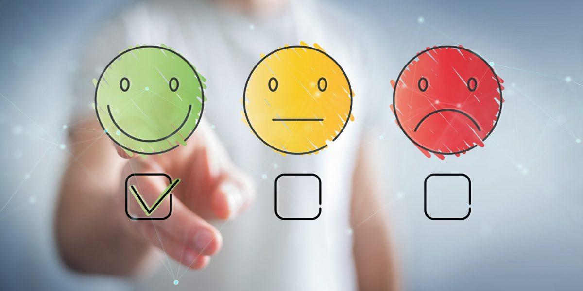 Businessman using thin line customer satisfaction rating